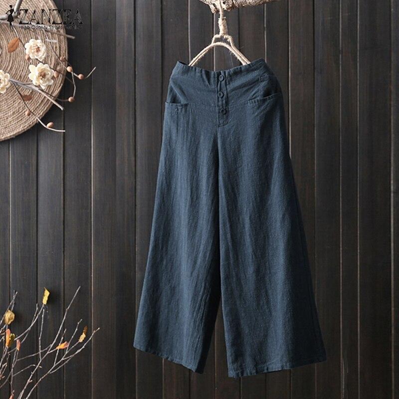 2019 Plus Size ZANZEA Solid Cotton Linen Party Long Trousers Women Casual Loose Pantalon Elastic Waist Pockets   Wide     Leg     Pants