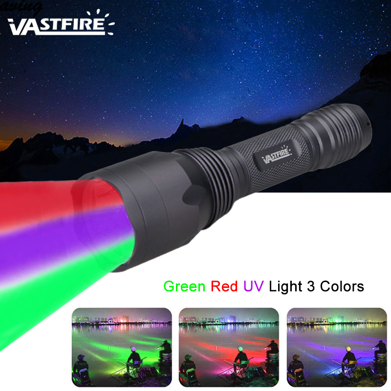 Portable Mini Led Tactical Green/Red/ UV Hunting Torch Flashlight Blood Tracker Hog Outdoor Hunting Camping Weapon Light Lamp