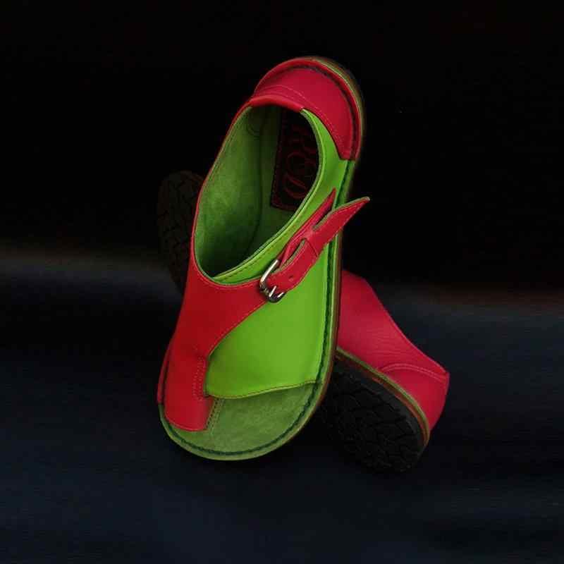SHUJIN yeni kadın deri sandalet Plat düz ayakkabı taban rahat yumuşak ayak ayak sandalet renk Patchwork Retro ayakkabı