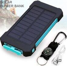 Waterproof Solar Power Bank Dual USB Power Bank Li-Polymer Powerbank External Portable Solar Panel with LED Light