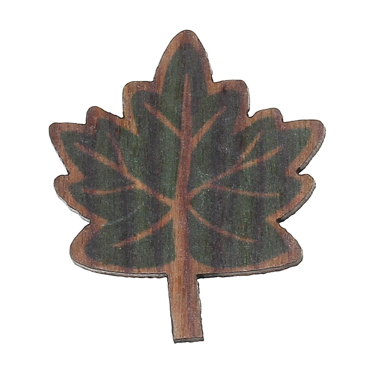 Wood Cabochons Scrapbooking Embellishments Findings Leaf Green 32mm(1 2/8)x 28mm(1 1/8),30 PCs new