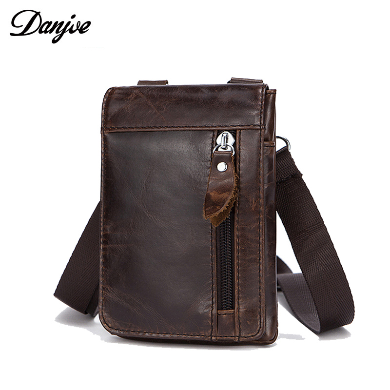 DANJUE Genuine Leather Belt Bag Waist Packs For Men Small Fanny Pack Phone Pouch Bags Travel Male Waist Men's Bag Leather Pouch