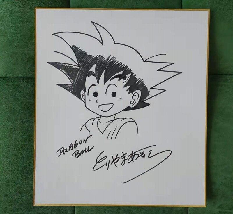 Dessin à la main Toriyama Akira autographié carte Shikishi tableau d'art Dragon Bll 032019B