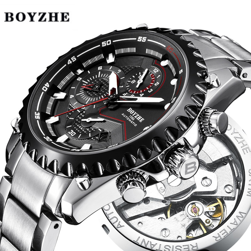 BOYZHE New Mens Sports Automatic Mechanical Watches Fashion Racing Luxury Brand Stainless Steel Outdoor Watch Relogio MasculinoBOYZHE New Mens Sports Automatic Mechanical Watches Fashion Racing Luxury Brand Stainless Steel Outdoor Watch Relogio Masculino
