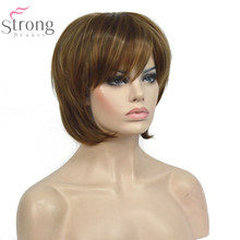 StrongBeauty Women Bob Style Short Straight Wig Brown with Blonde Highlights Synthetic Natural Full Wigs