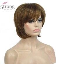 StrongBeauty peluca recta corta de estilo Bob para mujer, color marrón con Rubio, reflejos, pelucas completas naturales sintéticas