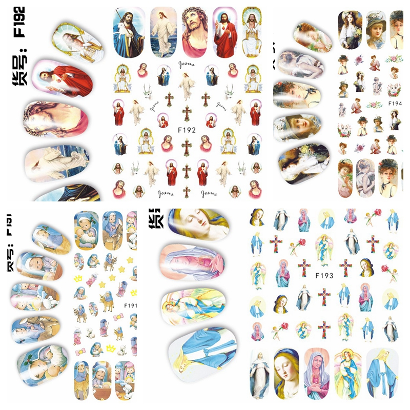 1 Sheet 3D Jesus Christ Goddess Lady Kids Almighty God Portraits Pattern Adhesive Nail Art Stickers Decals Tips F191-194#