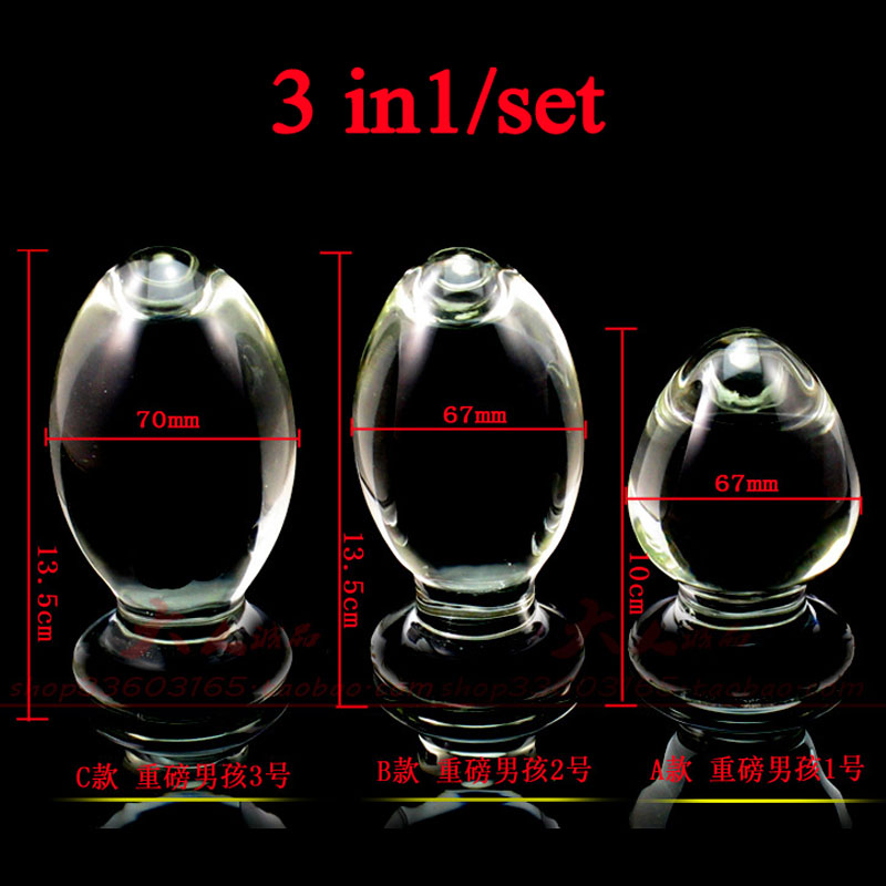 3pcs huge large anal expander dilator clear glass butt plug adult masturbation big anal balls buttplug sex toys for woman stainless steel heavy type metal butt plug anal speculum g spot dilatador anal expander anal plugs buttplug adult sex toys