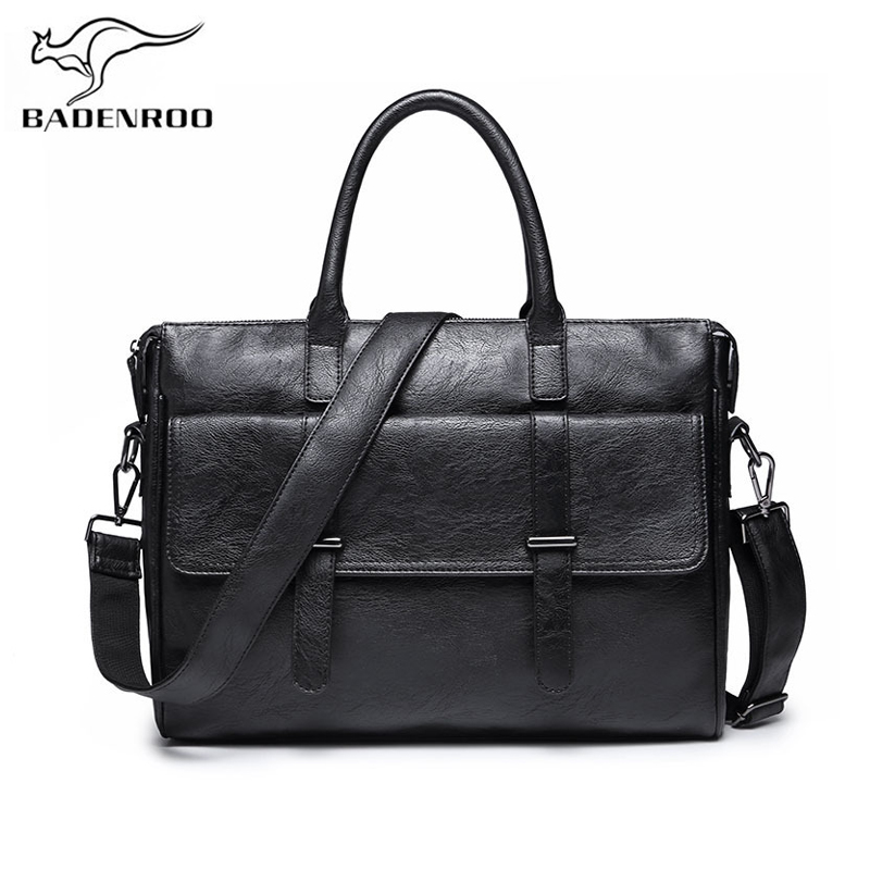 Badenroo Leather Male bag Vintage Business Men bags Laptop Tote Briefcases Crossbody bags Handbag Men's Shoulder Messenger Bags цена 2017