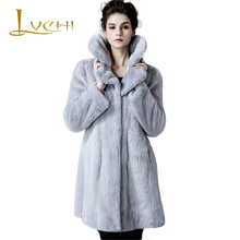 LVCHI 2017 New style ladies' fashion mink coats,Genuine Leather,OL Mink Fur Outerwear,Polo Collar,Mink fur coat from natural fur