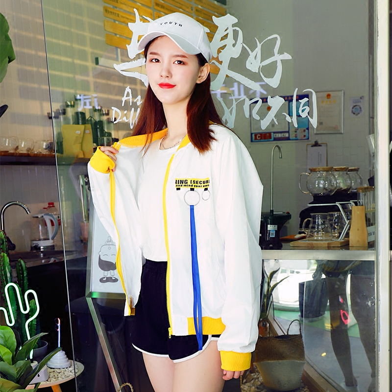 Women   Basic     Jackets   Female Students Korean Style Coat Loose Digital Printing Letter Womens Colorful Outerwear Females