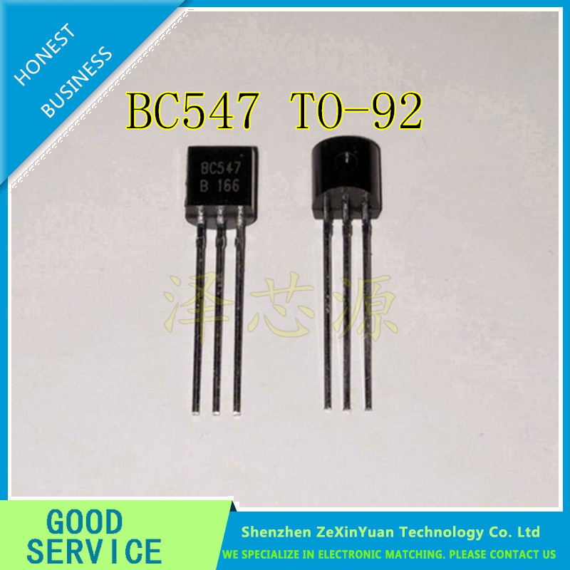 100pcs BC547 In-line Triode Transistor TO-92 0.1A 45V NPN