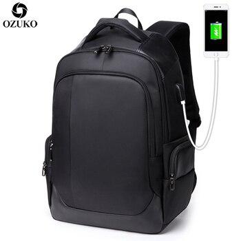 オズコ15.6インチラップトップバックパックメンズ多機能usb充電ビジネスバックパック用ティーンエイジャースクールバッグ防水トラベルバッグラップトップバッグ
