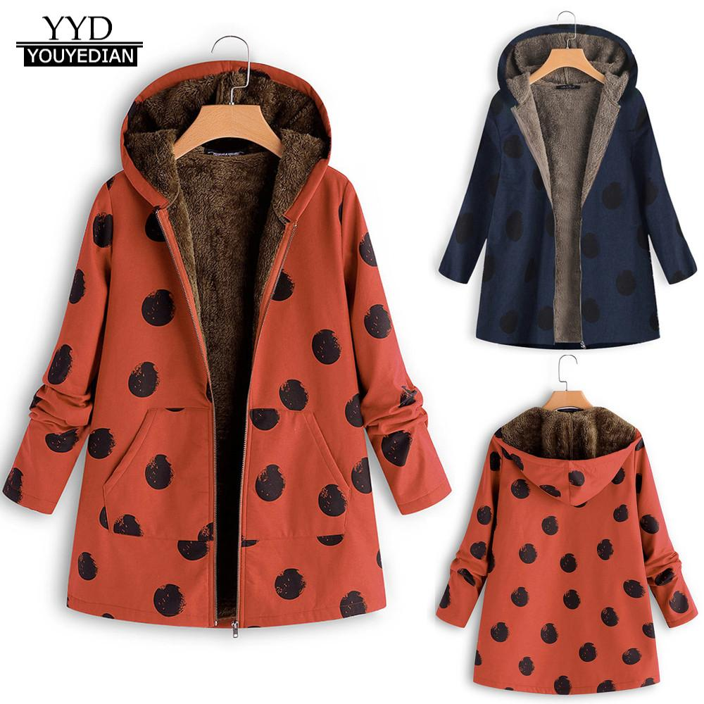 Plus Size Coat Women Winter Warm Outwear Dot Print Hooded Pockets Vintage Oversize Coats Parka abrigos mujer invierno 2018