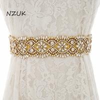 Crystal Bridal Belt Rhinestones Wedding Belt Gold Diamond Bridal Sash For Wedding Prom Gown ZZY139G