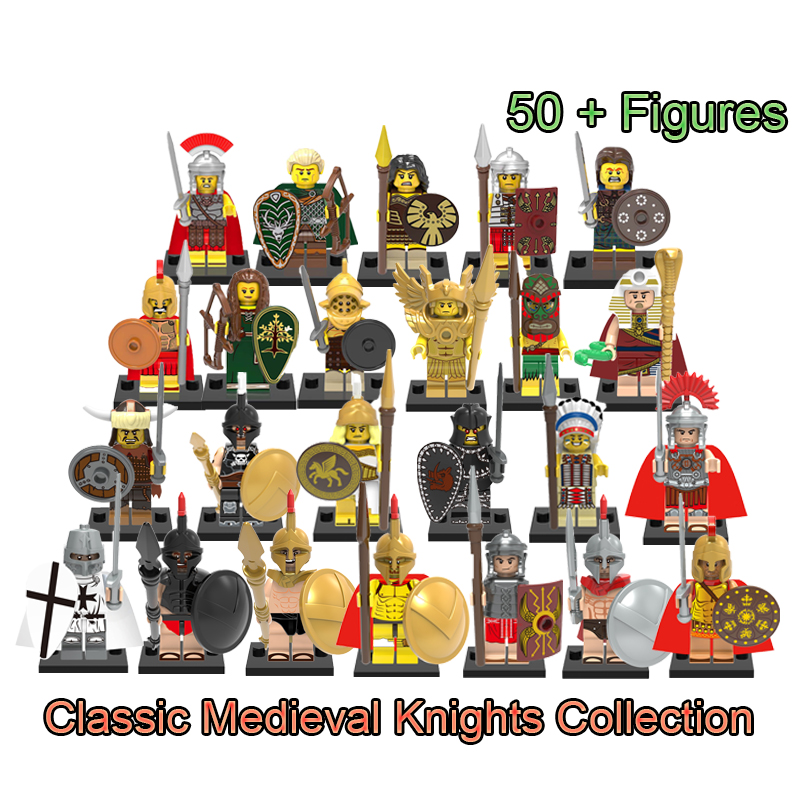 Single Sale Medieval Knights Heroes Of Spart Gladiatus Warriors Spartacus Rome Commander Saint Seiya Legoinglys Building Blocks single sale medieval castle knights dragon knights the hobbits lord of the rings figures with armor building blocks brick toys
