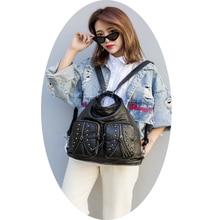 Woman black large backpack fashionable daypack multi-functional shoulder bag feminine satchel ultralight commuter LongLight