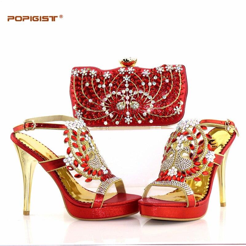 e676923eb37f52 red Femmes Africain Nigérianes Blue Correspondant green Sac De Ensemble  gold Chaussures Et Dans Italien Royal ...