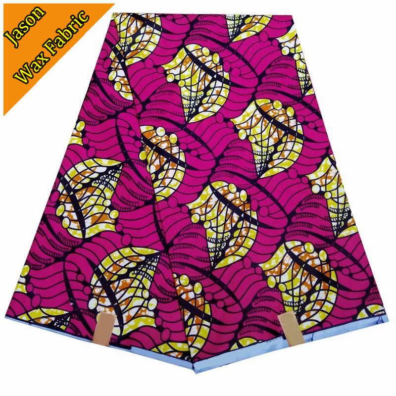 2018 Guaranteed real wax cloth pink color 100% Polyester African new design super wax prints fabric 6yards/lot for dress LBL