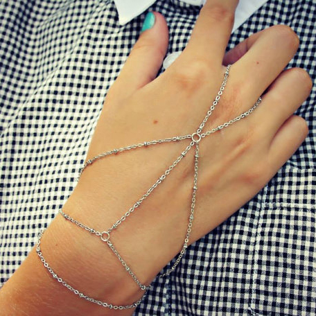 Fashion Simple Multilayer Tassel Slave Bracelet Vintage Finger Harness Hand Chain Jewelry 2B216
