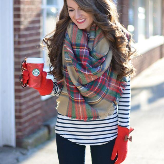 9f4181d6956 US $12.75 |Posh Female Cotton Scarf Wrap Braided Shawl Plaid Warm Lady  Blanket Oversized Tartan Cozy Checked Pashmina Scarves 6500-in Women's  Scarves ...