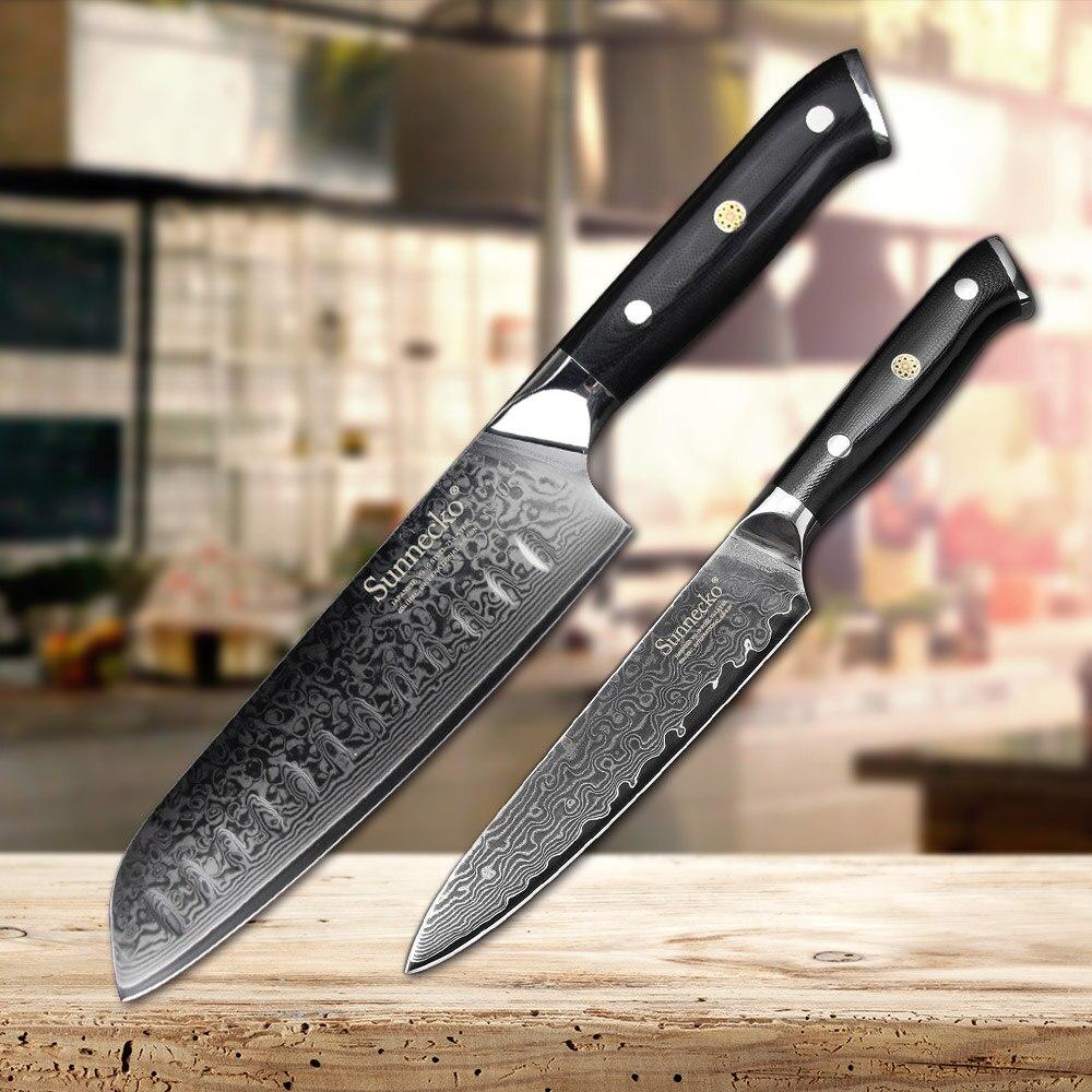 Juego de cuchillos de cocina SUNNECKO 2 piezas Santoku cuchillo de utilidad japonés VG10 Damasco navaja de acero afilado Chef cuchillos de cocina mango G10-in Conjuntos de cuchillos from Hogar y Mascotas    1