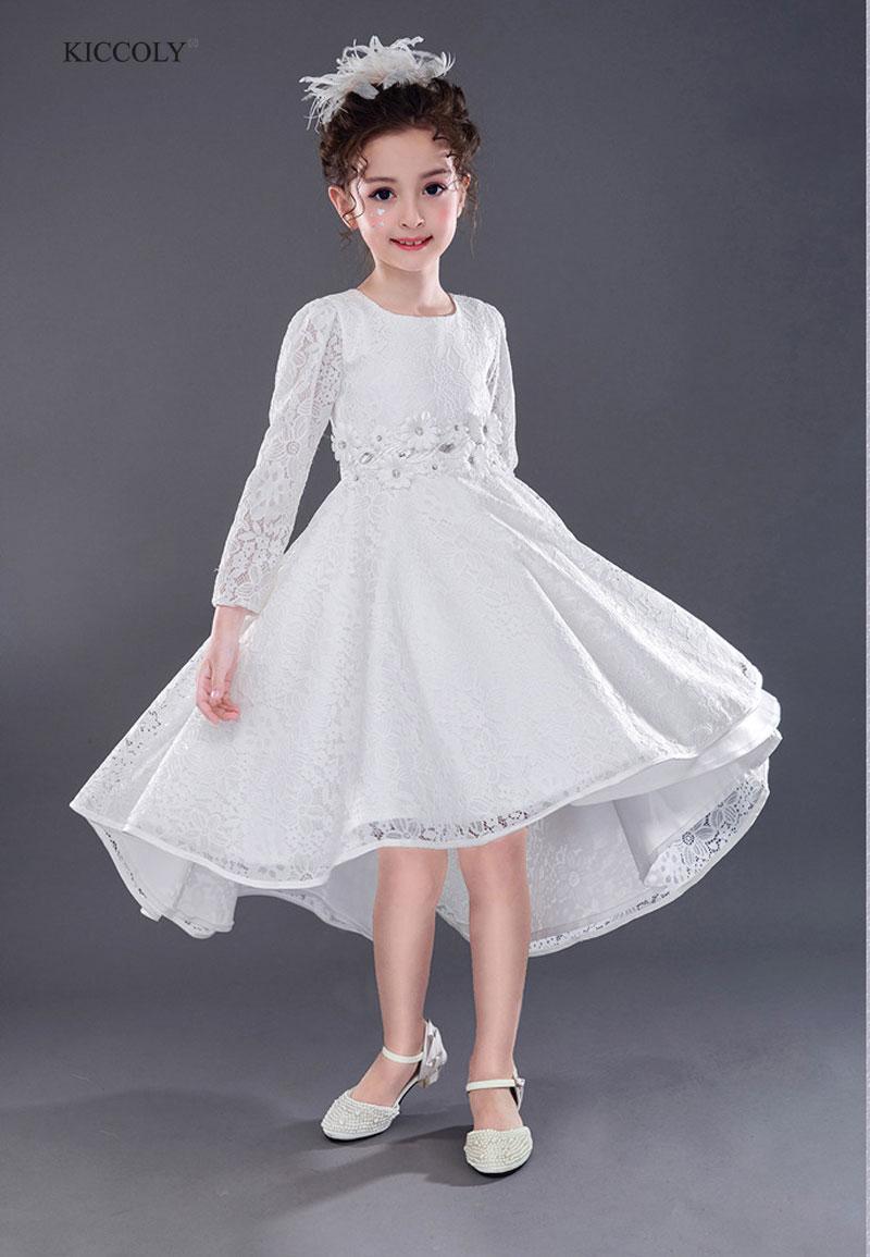 Filles robe de mariée 2018 à manches longues mode adolescent automne Tutu robes pour filles robe de soirée enfants traînant robe 4-14Y