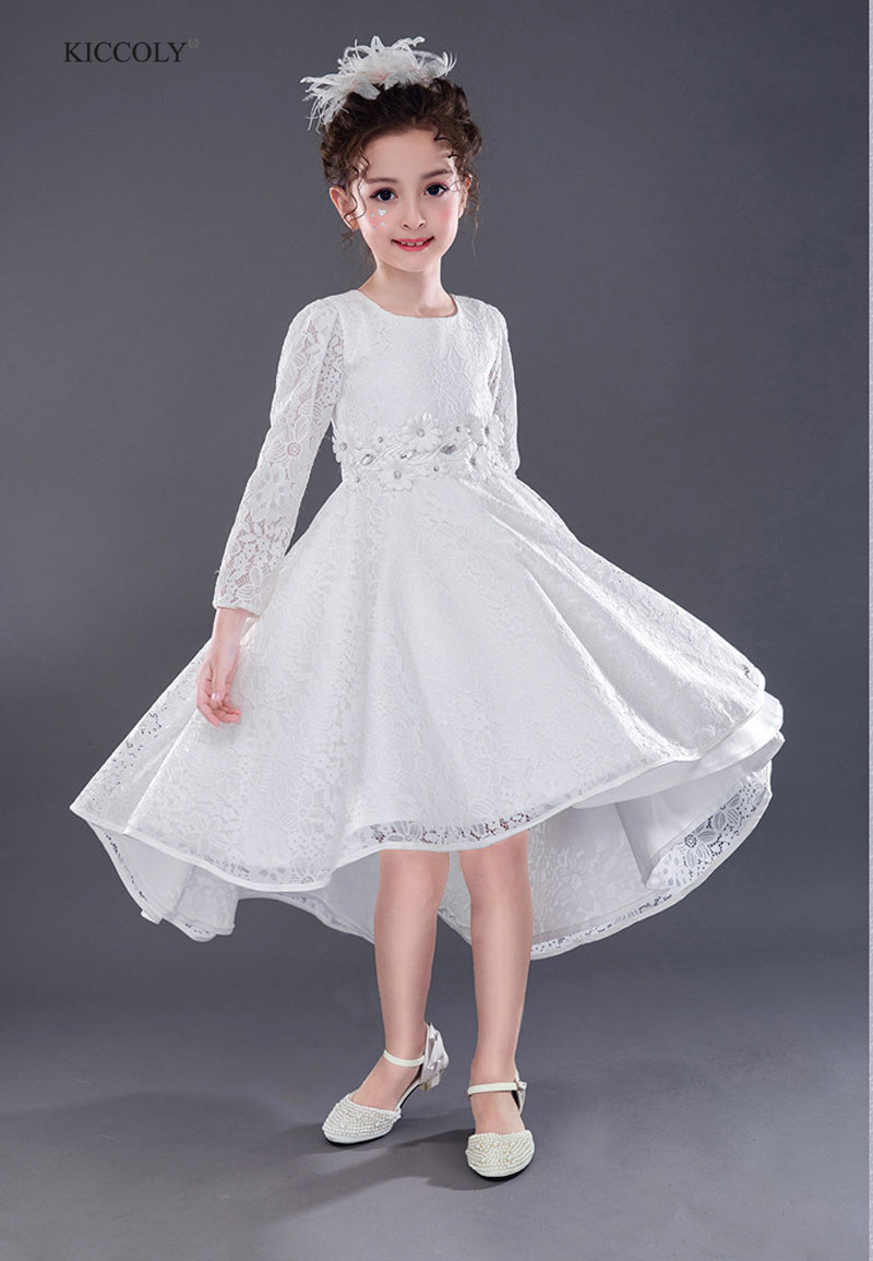 Girls Wedding Dress 2018 Long Sleeve Fashion Teenager
