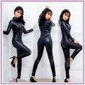 Spandex Full Zentai Bodysuit Long Sleeve Metallic Unitard Gymnastics Black Adult Shiny Faux Leather Catsuit Dance Wet Look