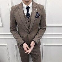 ( Jackets + Vest + Pants ) 2018 New High-end Brand Striped Formal Business Suit 3 Sets / Men's Wedding Dress Groom Striped Suits