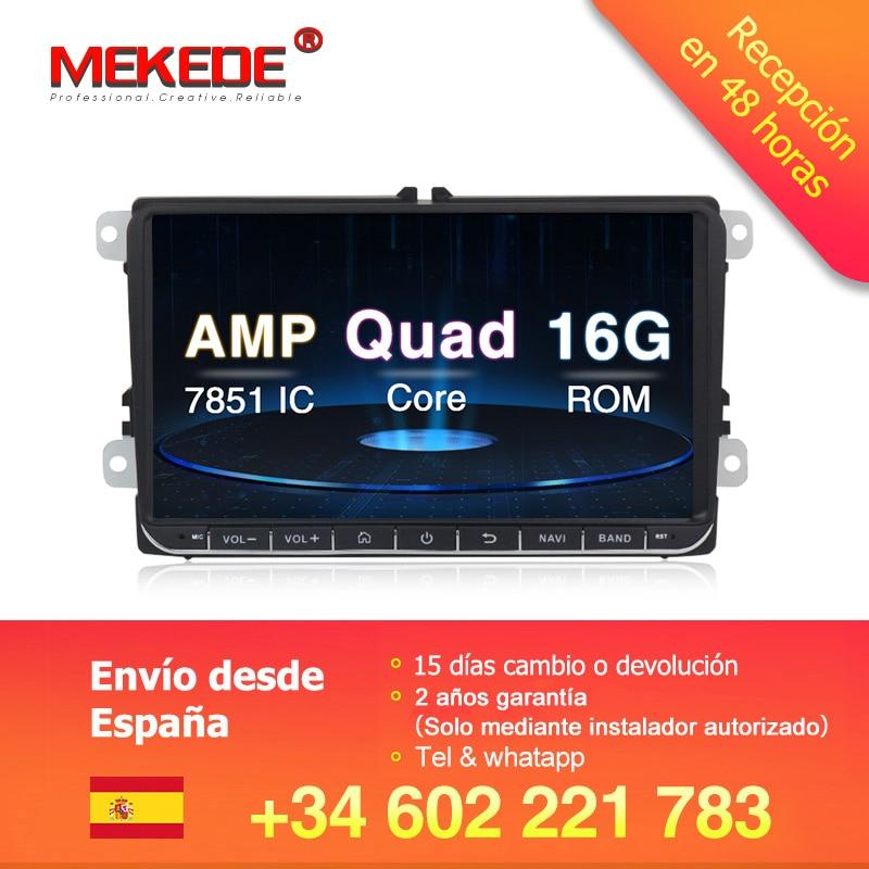 MEKEDE 2 reprodutor multimídia Carro Android 8.1 GPS Din Carro de Áudio De Rádio Para Volkswagen/POLO/PASSAT/Golf /Tiguan wifi FM Radio SWC
