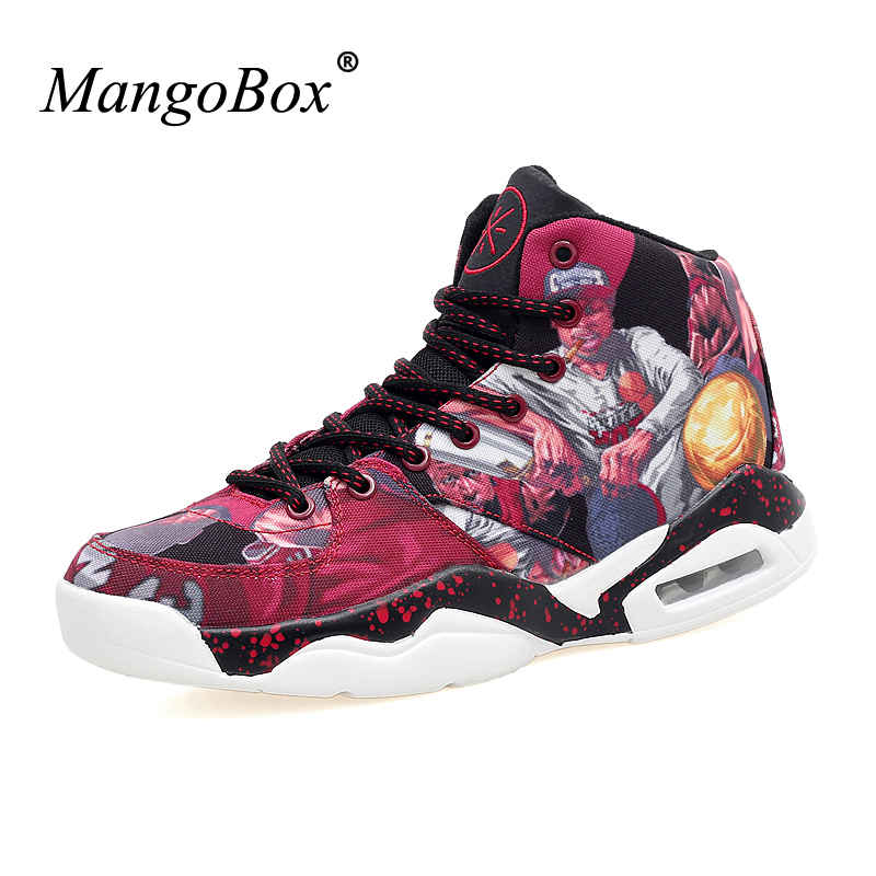 MangoBox Mens Sneakers Basketball Light Men Shoes Basketball Red Gray Boys Basketball Shoes Big Size Girls Basketball Sneakers