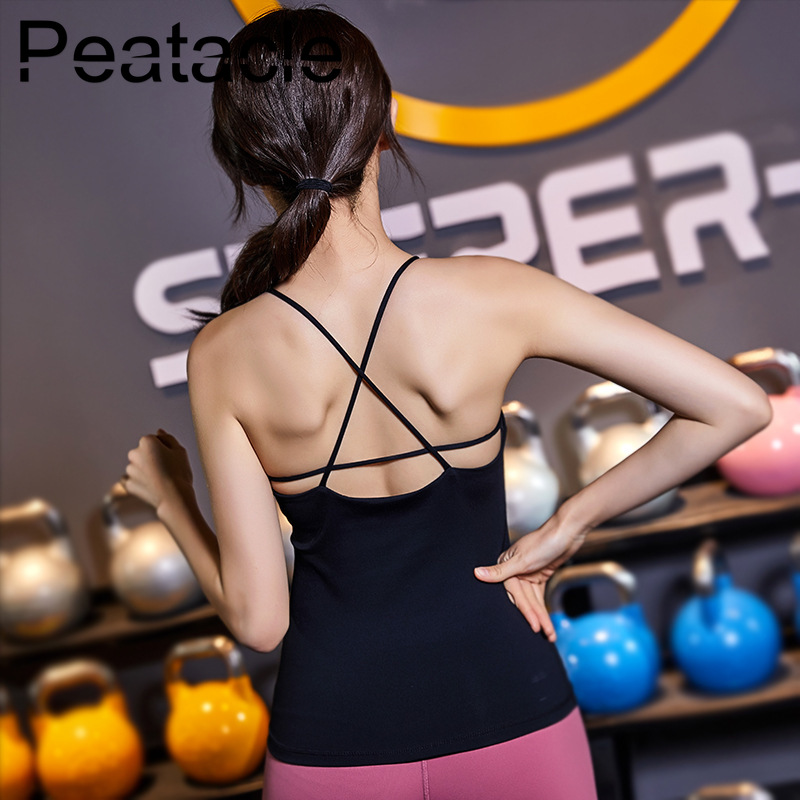 2019 Peatacle Women Sport Fitness Tank Top Yoga Shirt Dry Fit Crop Gym Running Workout Woman tshirt Ladies Vital Seamless in Yoga Shirts from Sports Entertainment