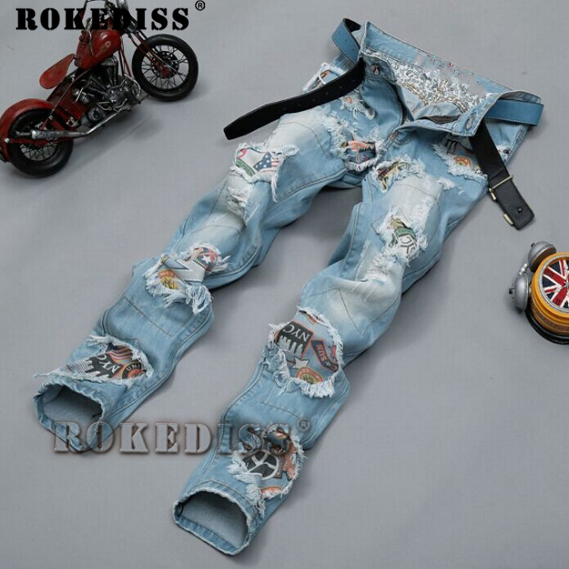 ФОТО Biker jeans 2017 New Designer Slim Jeans Men High Quality hip hop Ripped Jeans pants Straight Hole Denim Jeans C130