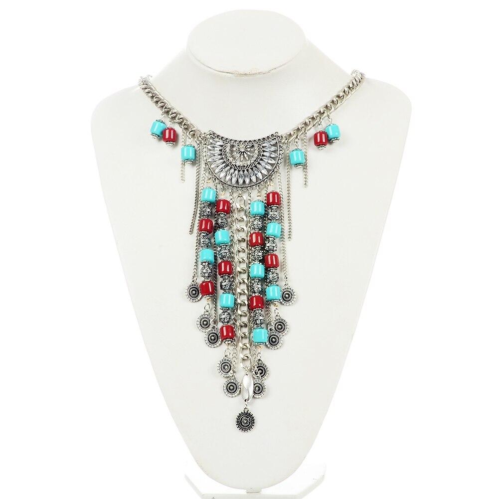 aa1fb8ae98a5 Bohemia oro plata Color cadena gargantilla collar Cuentas largas borla Chocker  collares para mujeres collar collier ras du cou