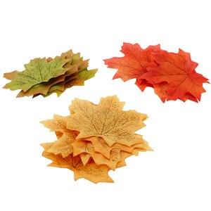 Image 2 - Guirnalda de Hojas de arce artificiales, color naranja, verde y amarillo, hojas de otoño y otoño, y boda decoración de jardín, 100 unidades