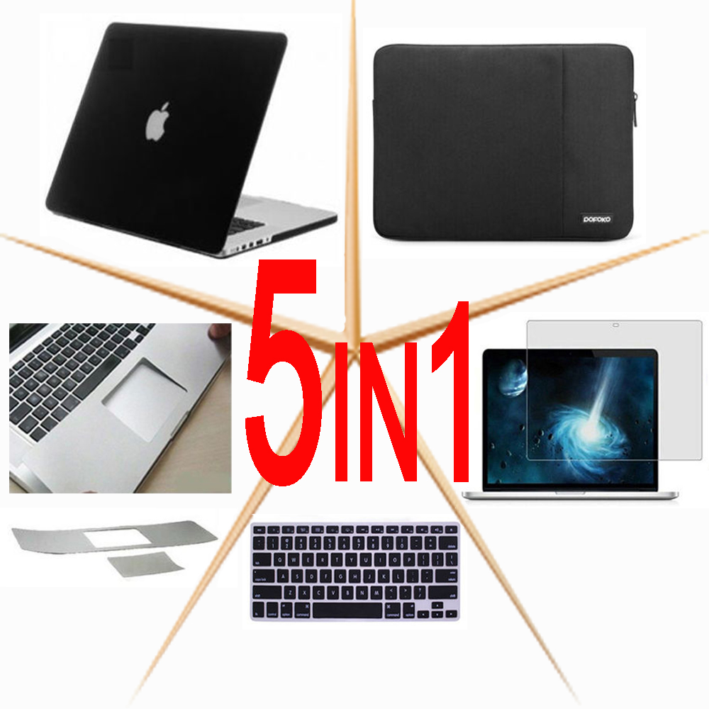 5in1 For Macbook Pro Air Retina 11 13 15 Touch Bar 13 15 inch Notebook Bag Hard case Sleeve Bag keyboard cover Screen protector new leather sleeve protector bag stand cover for macbook air 13 pro retina 11 12 13 15 laptop case for macbook pro 13 touch bar