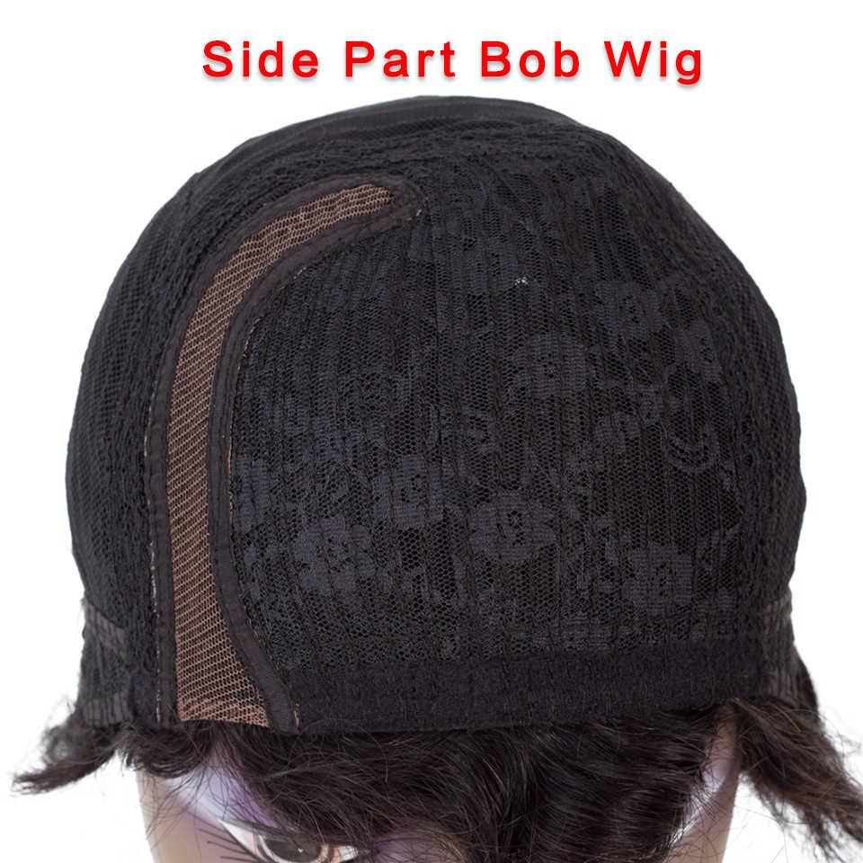 HairUGo короткие кружевные человеческие волосы парики для женщин бразильские волны океана не Реми человеческие волосы без запаха Кружева передние парики для черных женщин