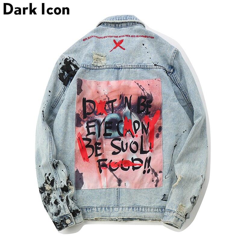 DARK ICON Graffiti Appliques Hip Hop Jeans Jacket Men 2019 Autumn Washing Material Denim Jackets for Men Casual Jackets hoodie