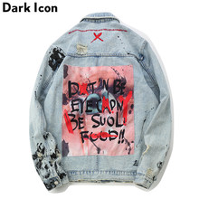 DARK ICON Graffiti Appliques Hip Hop Jeans Jacket Men 2019 Autumn Washing Material Denim Jackets for Men Casual Jackets(China)