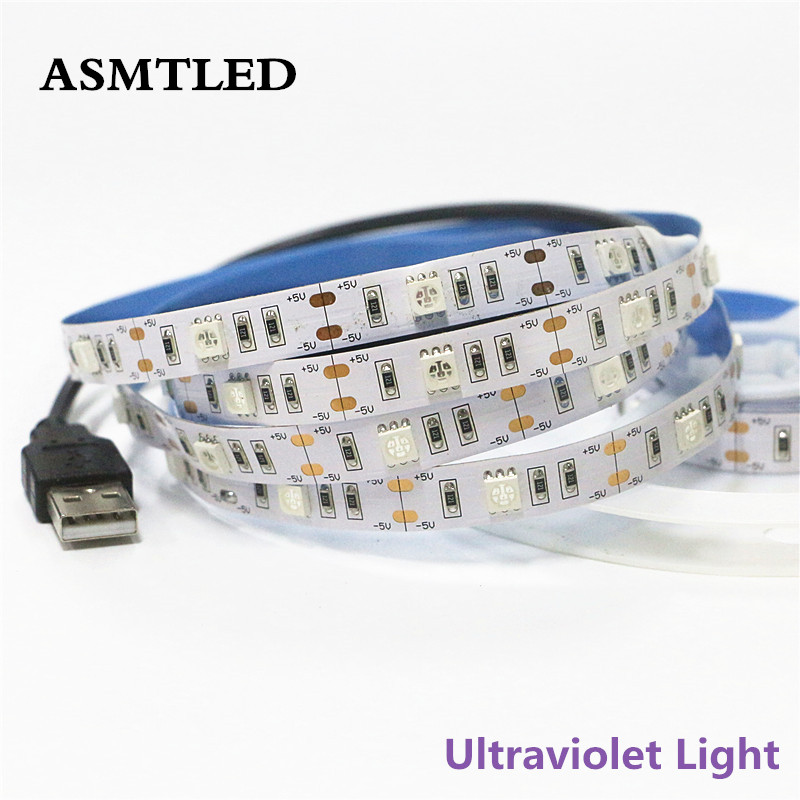 0.5m 1m 1.5m 2m DC5V Ultraviolet Tape Ribbon Lamp Light SMD 5050 30leds/m USB UV LED Strip Not Waterproof IP30 UV Strip Light