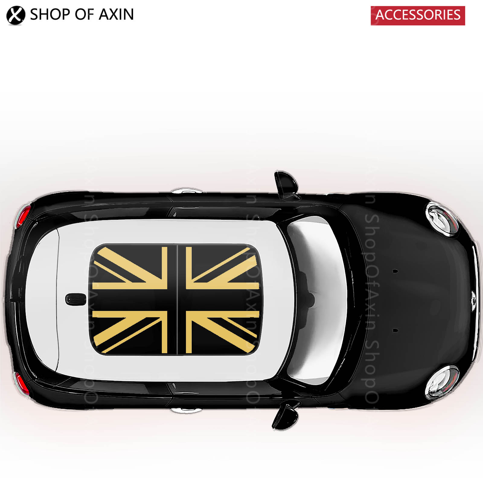 Gold UK flag sun roof Graphics stickers Sunroof for MINI Cooper clubman countryman hardtop R50 R53 R55 R56 R60 R61 F54 F55 F56 car door rocker panel decoration sticker graphics for mini cooper clubman countryman hardtop r50 r53 r55 r56 r60 r61 f54 f55 f56