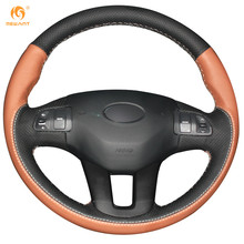 MEWANT Black Orange Genuine Leather Car Steering Wheel Cover for Kia Sportage 3 2011-2014 Kia Ceed Cee'd 2010-2012