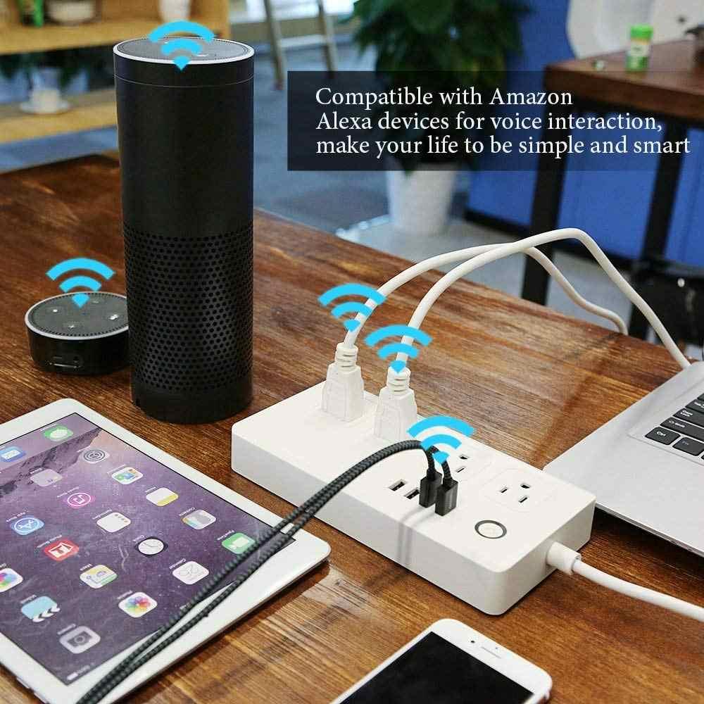 Tuya Smart życie Wifi Smart Power Strip ue w wielkiej brytanii, usa, AU wtyczka 4 portami USB 4 gniazda niezależne sterowanie działa z Alexa Google domu