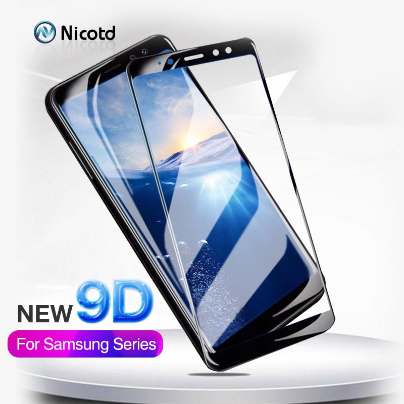 Nicotd New 9D For Samsung A8 A7 A9 J8 2018 Tempered Glass For Samsung Galaxy A6 Plus J6 A7 A9 J2 Pro 2018 Screen Protector Film
