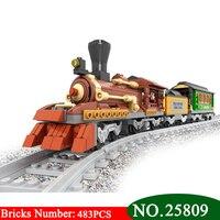 2018 NEW 25809 Old Train building blocks train 483pcs Train Bricks Blocks children's educational toys brinquedos