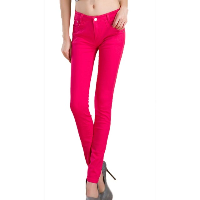 cc647db05d4 Newest Summer Rose Red Female Stretch Candy Colored Pencil Women s Pants  Sexy Elastic Cotton Jeans Pants