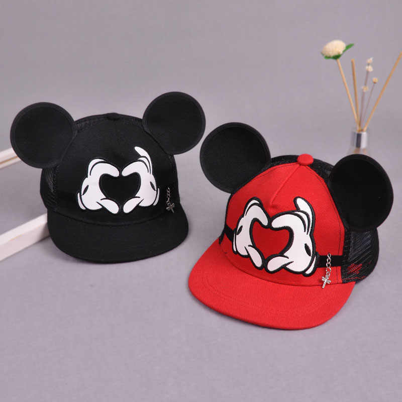 e3fa281fc16919 ... Mickey Ears Baby boy Sun Hat Children Snapback Baseball Cap Summer Kids  Boys Hats Bucket Caps ...