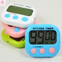 Cooking Timer Alarm Clock Mini Digital Kitchen Countdown with Stand White Practical