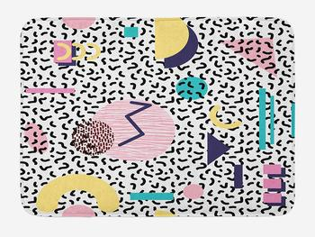 90s Bath Mat Geometric Pattern in Retro Style Round Half Moon Shapes Artwork Plush Bathroom Mat Navy Pink image